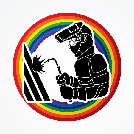 Welder working designed on line rainbow graphic vector.