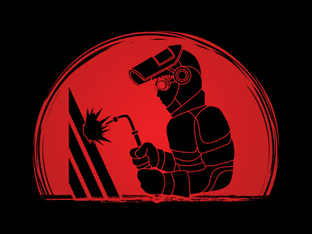 Welder working designed on sunset graphic vector.
