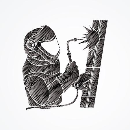 Welder working designed using black grunge brush graphic vector. Illustration