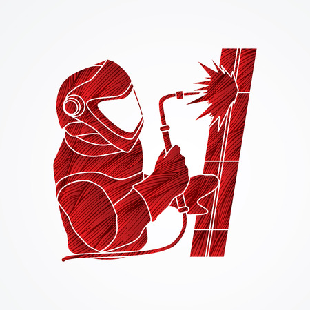 Welder working designed using red grunge brush graphic vector.