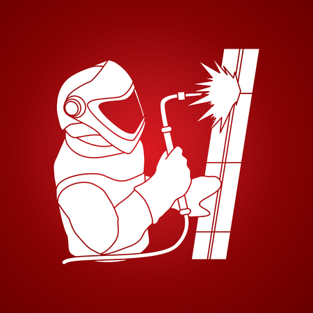 Welder working graphic vector.