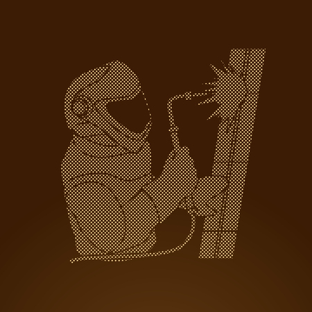 Welder working designed using dot pixels graphic vector.