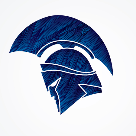 Spartan Krieger Helm blau Grunge Pinsel Vektor-Grafik entworfen werden.