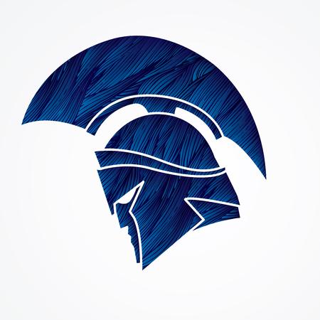 Spartan warrior helmet designed using blue grunge brush graphic vector.