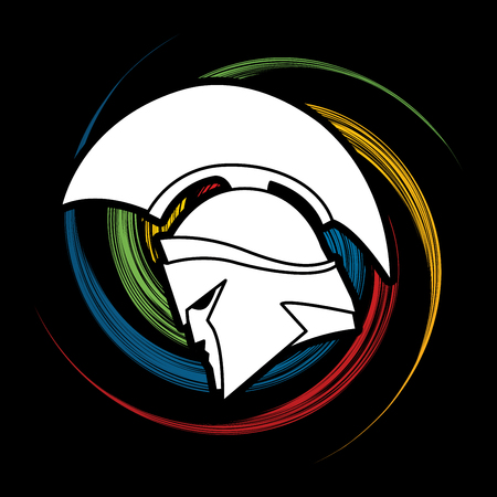 spin: Spartan warrior helmet designed on spin wheel graphic vector.
