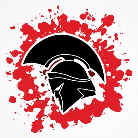 sparta: Spartan warrior helmet designed on splash ink graphic vector.