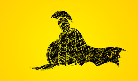roman empire: Spartan warrior with sword and shield designed using grunge brush graphic vector. Illustration