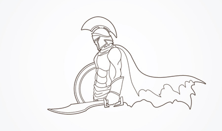 Vector - Spartan warrior with sword and shield outline graphic vector.