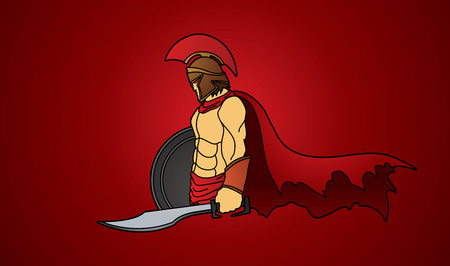 roman soldier: Spartan warrior with sword and shield graphic vector. Illustration