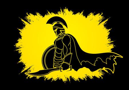 Spartaanse krijger met zwaard en schild ontworpen op grunge frame grafische vector.