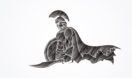 Spartan warrior with sword and shield designed using black grunge brush graphic vector. Illustration