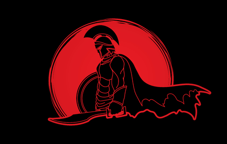 Spartan warrior with sword and shield designed on sunlight graphic vector. Иллюстрация