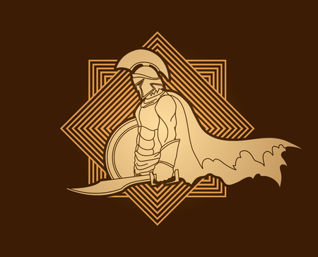 praetorian: Spartan warrior with sword and shield designed on line square graphic vector.