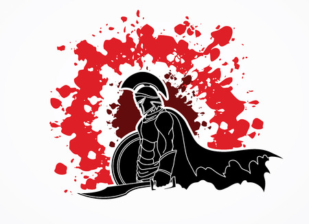Spartan warrior with sword and shield designed on splatter blood graphic vector.