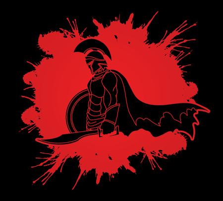 Spartanischer Krieger mit dem Schwert und Schild entwarfen auf Spritzenblut-Grafikvektor.
