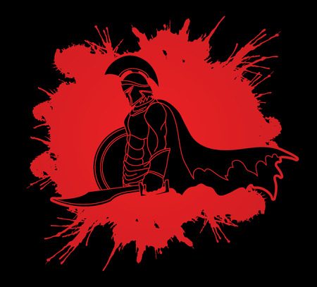 Spartan warrior with sword and shield designed on splash blood graphic vector. Illustration