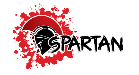 Spartan text designed with helmet warrior graphic vector.