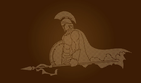 roman empire: Spartan warrior with Spear and shield designed using dots pixels graphic vector.