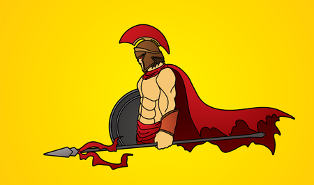 roman empire: Spartan warrior with Spear and shield graphic vector. Illustration