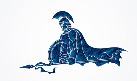 Spartaanse krijger met Spies en schild, ontworpen met behulp van een blauwe grunge borstel grafische vector.