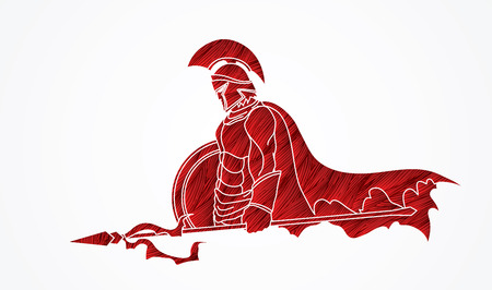 Spartan warrior with Spear and shield designed using red grunge brush graphic vector.
