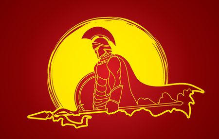 roman soldier: Spartan warrior with Spear and shield designed on moonlight background graphic vector.
