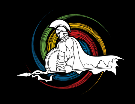 spin wheel: Spartan warrior with Spear and shield designed on spin wheel background graphic vector.