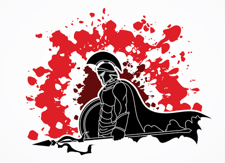 Spartan warrior with Spear and shield designed on splatter blood background graphic vector.