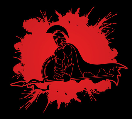 roman empire: Spartan warrior with Spear and shield designed on splash blood background graphic vector.