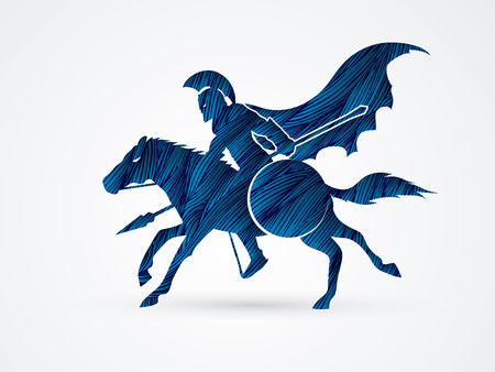 ready logos: Spartan warrior riders with a spear ready to fight designed using blue grunge brush graphic vector.