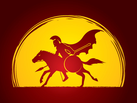 ready logos: Spartan warrior riders with a spear ready to fight designed on moonlight background graphic vector