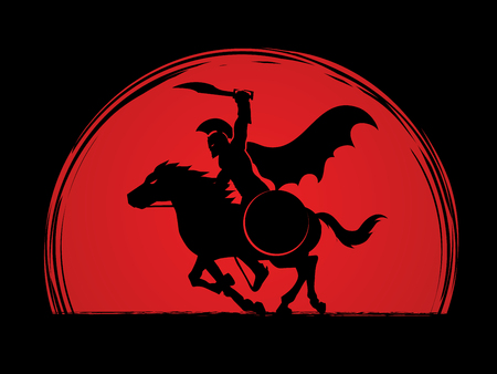 Spartan warrior riders with a sword ready to fight designed on sunrise background graphic vector Illustration