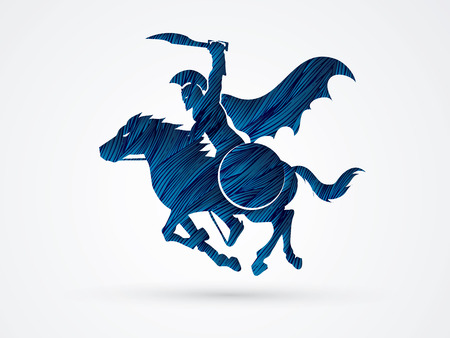 jinetes guerreros espartanos con una espada listo para luchar diseñados utilizando el cepillo azul del grunge de gráficos vectoriales