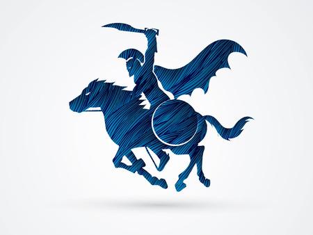 Spartaanse krijger ruiters met een zwaard klaar om te vechten ontworpen met behulp van blauwe grunge brush grafische vector