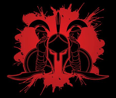 Spartanische Kriegerhaltung entworfen auf Splatterbluthintergrund-Grafikvektor.