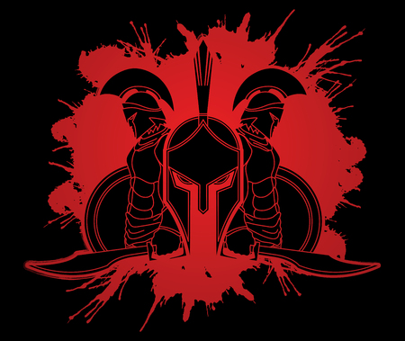 army face: Spartan warrior pose designed on splatter blood background  graphic vector.
