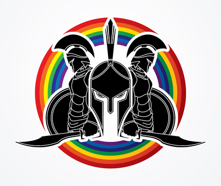 Spartan warrior pose designed on line rainbows background  graphic vector. Illustration