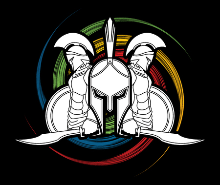 spin: Spartan warrior pose designed on spin wheel background  graphic vector.