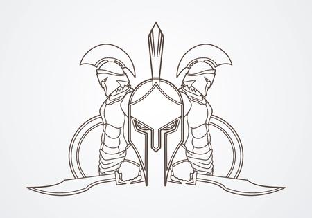 Spartan Krieger stellen Vektor-Grafik-umreißen.