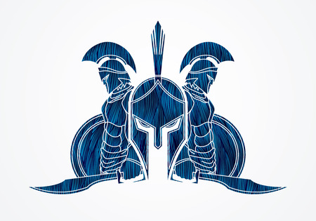 Spartan warrior pose designed using blue grunge brush graphic vector.