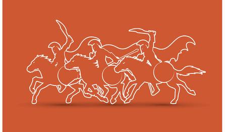 ready logos: 3 Spartan warrior riding horses outline stroke graphic vector.