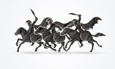 roman soldier: 3 Spartan warrior riding horses designed using black grunge brush graphic vector.