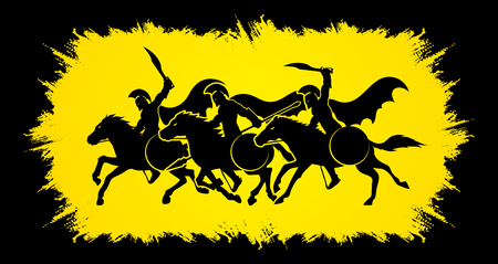 3 Spartan warrior riding horses designed on grunge frame graphic vector. Illustration