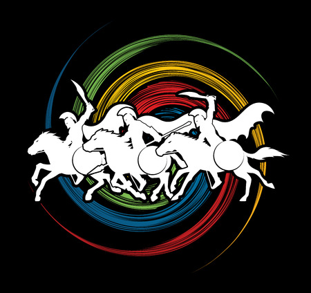 cloak: 3 Spartan warrior riding horses designed on spin wheel graphic vector. Illustration
