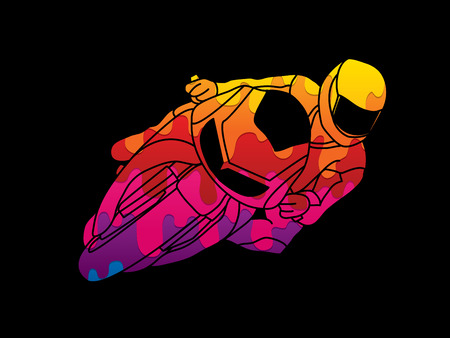 Motorcycle racing designed using melting colors graphic vector