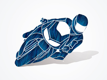 Motorcycle racing designed using blue grunge brush graphic vector