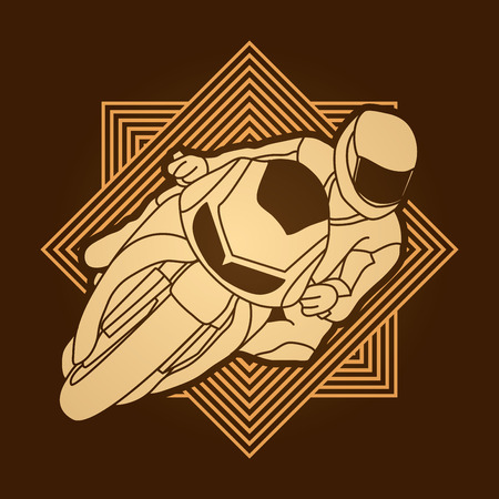 Motorcycle racing designed on line square background graphic vector