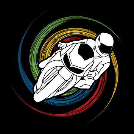 spin: Motorcycle racing designed on spin wheel background graphic vector