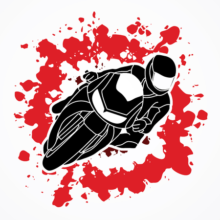 Motorcycle racing designed on splatter ink background graphic vector