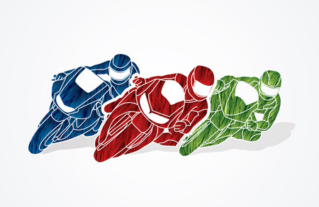 Motorcycles racing designed using red green blue grunge brush graphic vector